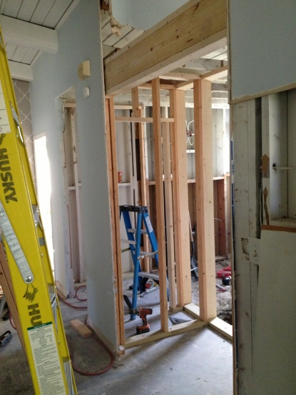 New laundry and bath walls being modified